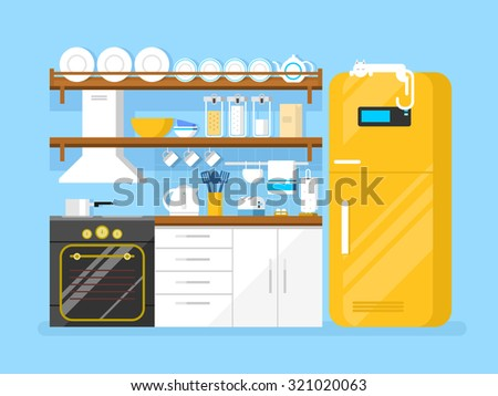 Kitchen flat style. Furniture and refrigerator, toaster and plate, hood and pan, flat vector illustration - stock vector