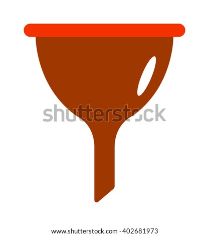 Kitchen funnel plastic tool and household kitchen funnel. Kitchen funnel household equipment handle chemistry funnel tool. Red plastic funnel kitchen tool cone liquid cooking household flat vector. - stock vector