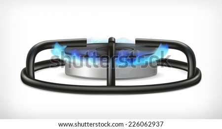 Kitchen gas stove, vector object - stock vector