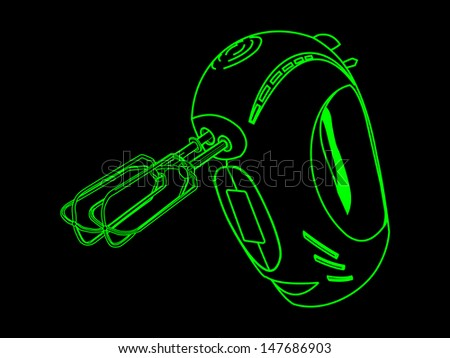 Kitchen hand mixer vector isolated on black in green lines - stock vector