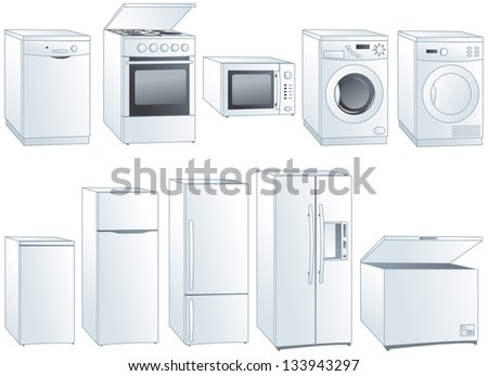 Kitchen home appliances: fridge, oven, stove, microwave, dishwasher, washing machine, dryer. Vector illustration - stock vector