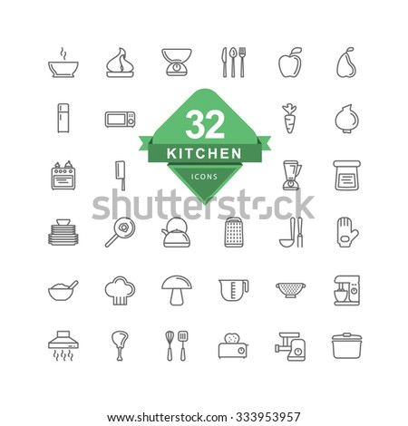 Kitchen Icons ( Line Icons ) - stock vector
