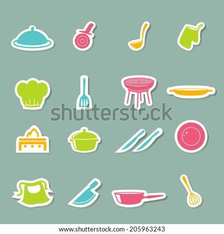 kitchen icons set - stock vector