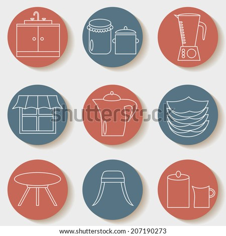 Kitchen icons set, baking and cooking tools, white lines design - stock vector