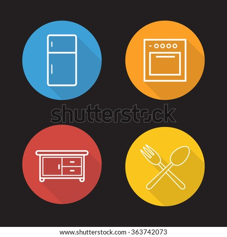 Kitchen interior flat linear icons set. Fridge, oven, cooking cabinet, fork and spoon symbols.  Long shadow outline logo concepts. Vector line art illustrations - stock vector