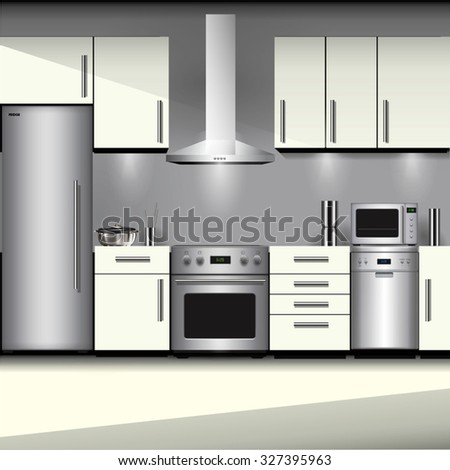 Kitchen interior with appliances isolated on background. Vector illustration - stock vector