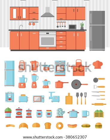 Kitchen interior with kitchen furniture appliances utensils and electronics colorful flat design icons set - stock vector