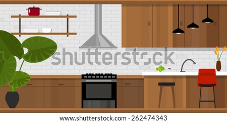 kitchen interior with wood interior in vector illustration - stock vector
