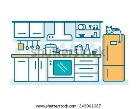 Kitchen linear flat. Interior furniture, table cook, household and oven, utensil and stove, line vector illustration - stock vector