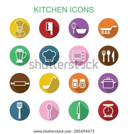 kitchen long shadow icons, flat vector symbols - stock vector