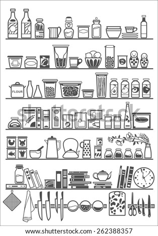 kitchen or pantry shelves with goods, vector illustration - stock vector