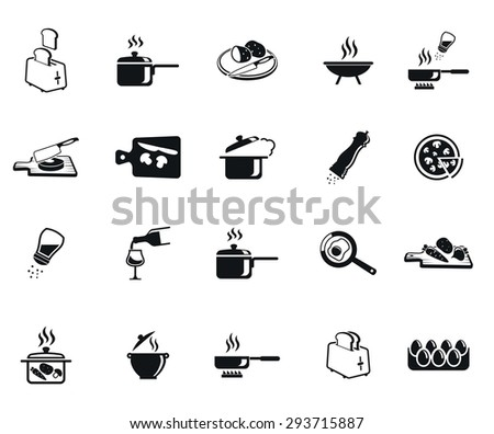 Kitchen set of vector black icon on white background - stock vector