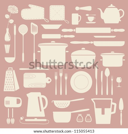 Kitchen silhouette set, vector pattern. - stock vector