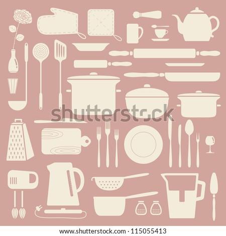 Kitchen silhouette set, vector pattern. - stock vector