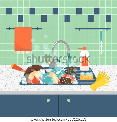 Kitchen sink with dirty kitchenware and dishes. Mess and sink, dirty and kitchenware, wash sponge. Vector illustration - stock vector
