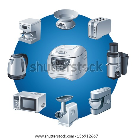 kitchen small appliances icon set - stock vector