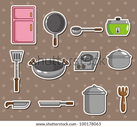 kitchen stickers - stock vector