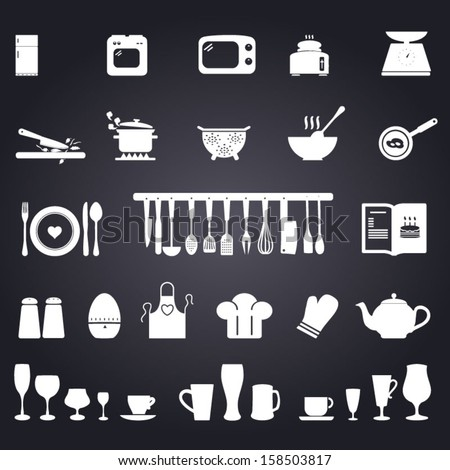 Kitchen symbols - stock vector
