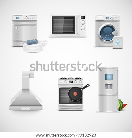 kitchen technique vector icon set - stock vector
