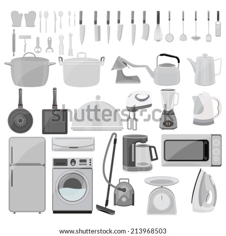 Kitchen tool collection on white background - stock vector