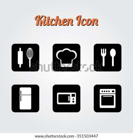 Kitchen tool collection. Vector illustration. Kitchen and cooking icons silhouette. - stock vector