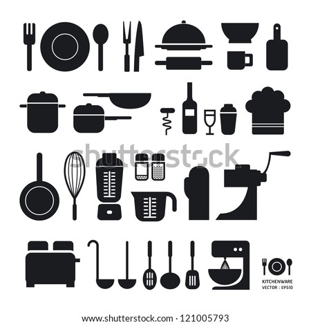 Kitchen tool icons collection / can be used for infographics / graphic or website layout vector/Horizontal - stock vector