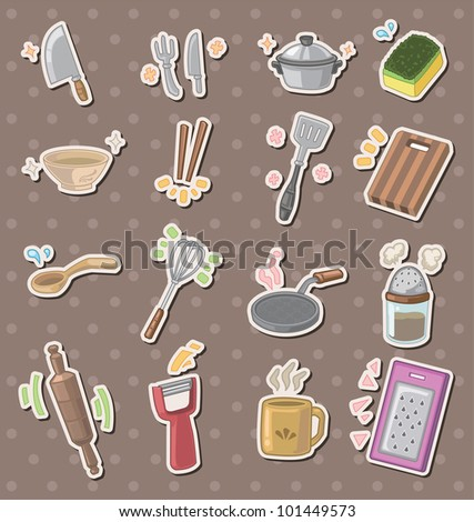 kitchen tool stickers - stock vector