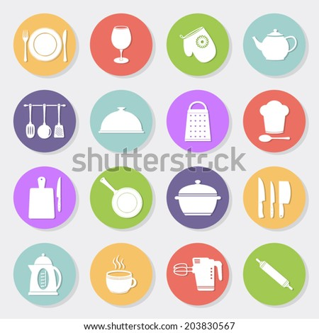 Kitchen tools flat icons - stock vector