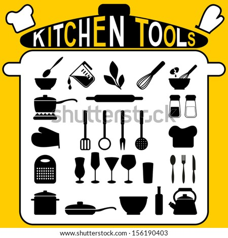 Kitchen tools -   icons set. - stock vector
