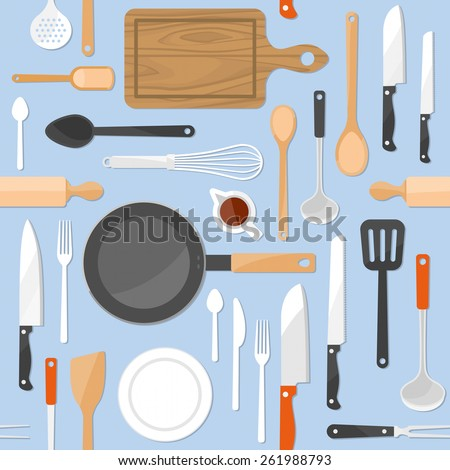 KItchen tools seamless pattern with kitchenware equipment on light blue pastel background - stock vector