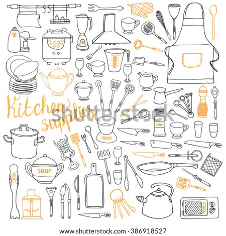 Kitchen tools - set in doodle sketch style. - stock vector