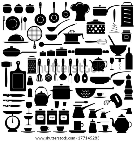 Kitchen tools, set, silhouette, isolated on white background, vector illustration. - stock vector