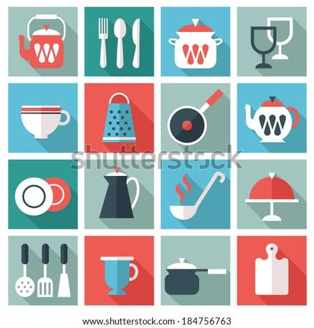 kitchen utensil icons - stock vector