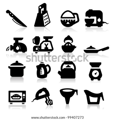 Kitchen utensil icons set - Elegant series - stock vector