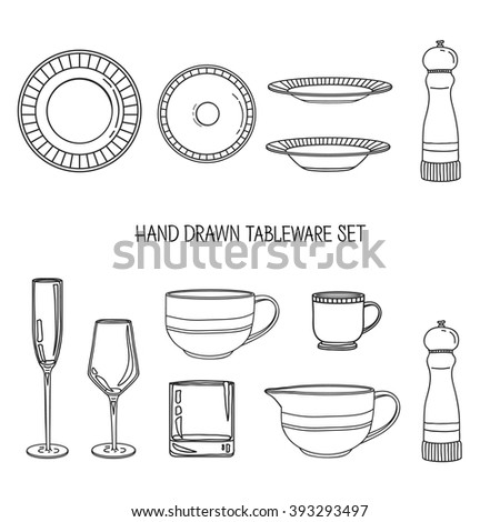 Collection of home tools silhouettes stock photos images for Kitchen set vector