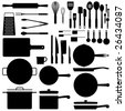 Kitchen utensil silhouette collection in vector format - stock vector