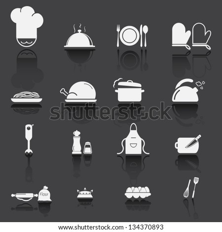 Kitchen utensils and food icon 2 - stock vector