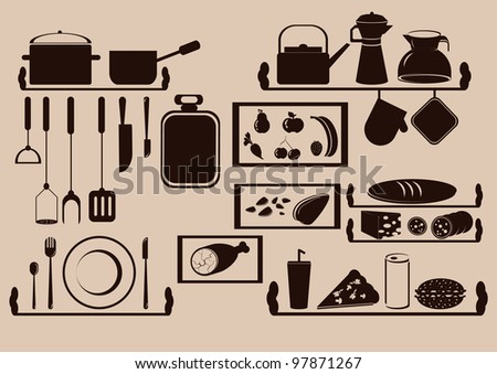 kitchen utensils and food on the shelves - stock vector