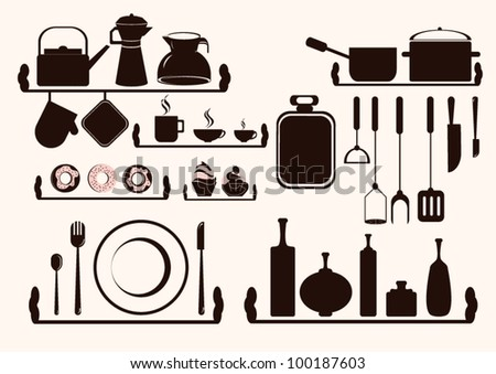 Kitchen Utensils  and Food Silhouette - stock vector