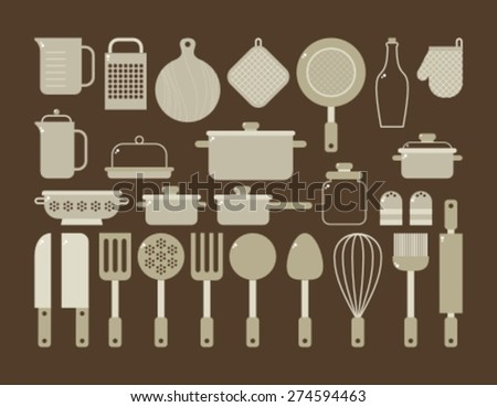 kitchen utensils for cooking - stock vector
