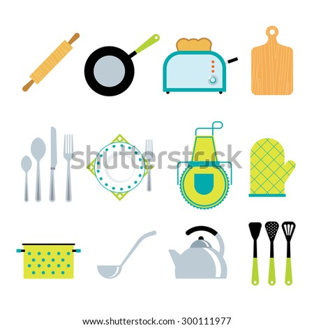 Kitchen utensils gadgets and accessories icons collection with toaster and rolling pin flat abstract isolated vector illustration - stock vector