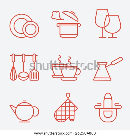 Kitchen utensils icons, thin line style, flat design - stock vector