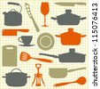 Kitchen utensils, kitchenware silhouettes - stock vector