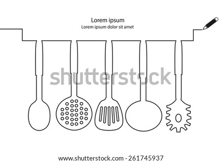 Kitchen utensils line design vector. - stock vector