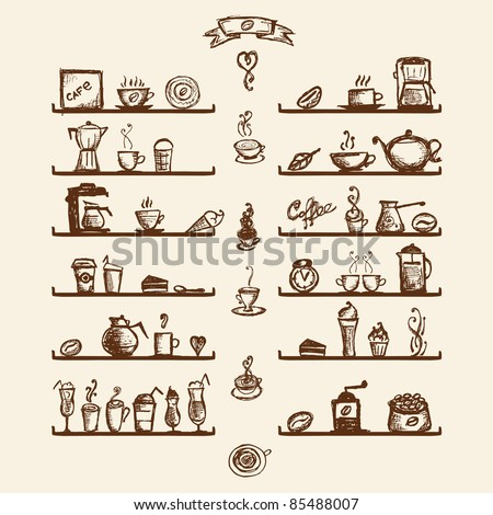 Kitchen utensils on shelves for coffee house, sketch drawing for your design - stock vector