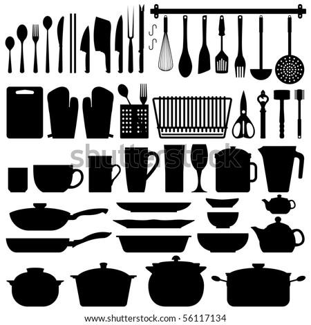 Kitchen Utensils Silhouette Vector - stock vector