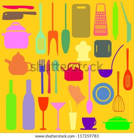 Kitchen utensils vector design - stock vector