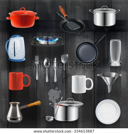 Kitchen utensils, vector set on black wooden background - stock vector