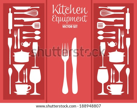 Kitchen ware and utensils equipment silhouette icons vector set - stock vector