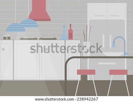 Kitchen with furniture and cooking equipment in grey tone - stock vector